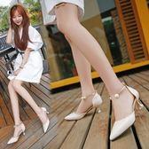 夏季新款高跟細跟尖頭側空韓版女鞋性感低筒鞋時尚女涼鞋單鞋 完美情人