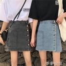 新款mm牛仔裙ins超火的半身裙子夏季a字包臀排扣短裙伊莎公主