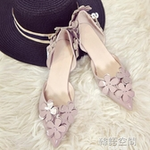 韓版甜美百搭顯瘦尖頭單鞋女高跟鞋3公分 中空花朵低跟小細跟伴娘鞋  韓語空間