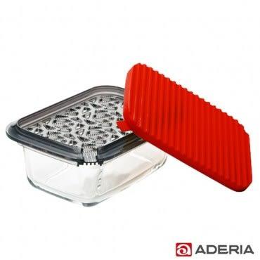 ADERIA 日本進口多功能磨泥玻璃容器盒(紅)