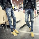 NO.1 韓版首爾 熱銷款 抽鬚刷破洗舊感牛仔褲《P3000》