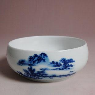 青花瓷山水茶洗