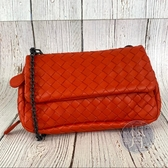 BRAND楓月 Bottega Veneta 紅色編織口蓋鍊包 編織包 側背包 肩背包
