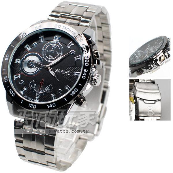 BARIHO 三眼造型 個性流行腕錶 男錶 黑色 BA442黑