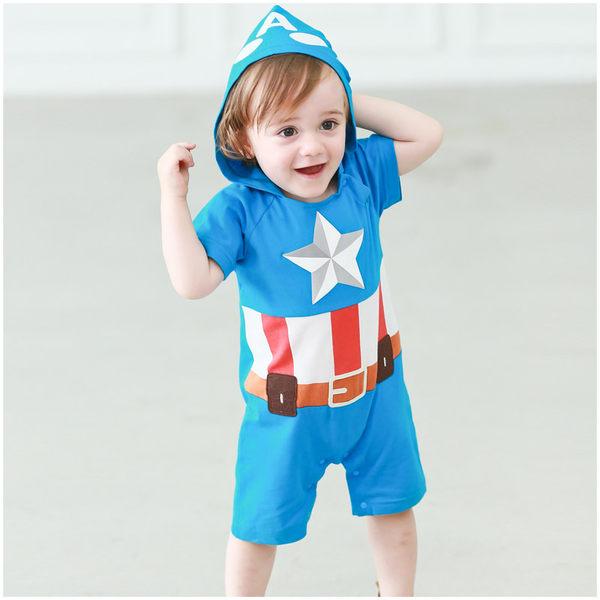 立體發泡連身衣 美國隊長 男寶寶 印刷 連帽 爬服 哈衣 Augelute Baby 52384