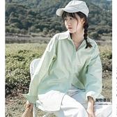 小清新襯衫女設計感夏季寬鬆長袖襯衣外套外穿上衣
