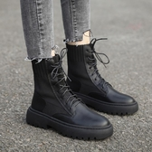 顯腳小的彈力瘦瘦靴子秋季新款百搭英倫馬丁靴粗跟機車短靴女 伊衫風尚