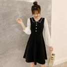 2020年春秋裝新款仙女超仙甜美收腰顯瘦雪紡拼接連衣裙假兩件裙子 蘿莉新品