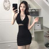 性感低胸v領露腰掛脖修身漏背顯瘦夜店女裝禮服連衣裙女夏季新款