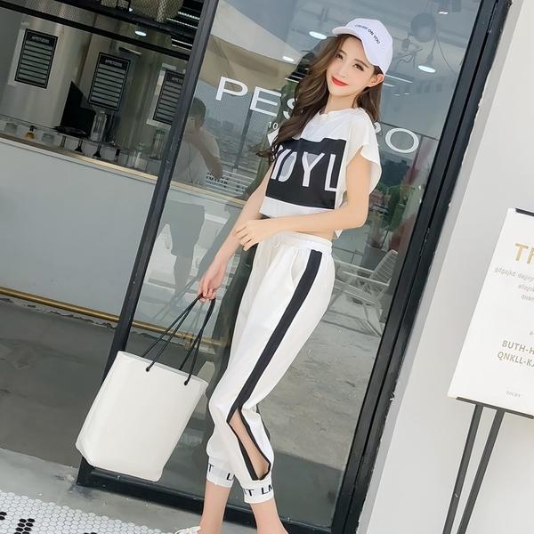 清倉388 韓系字母印花背後網紗休閒運動套裝短袖褲裝