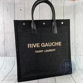 BRAND楓月 Saint Laurent 聖羅蘭 YSL 632539 黑刺繡手提包 肩背包 單肩背包