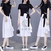 夏季半身連衣裙套裝兩件套短袖連身裙洋裝白色/黑色【小酒窩】