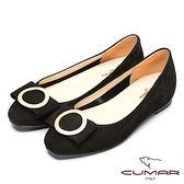 ★2018春夏新品★【CUMAR】時尚美人-搶眼裝飾隱藏增高平底鞋-黑色
