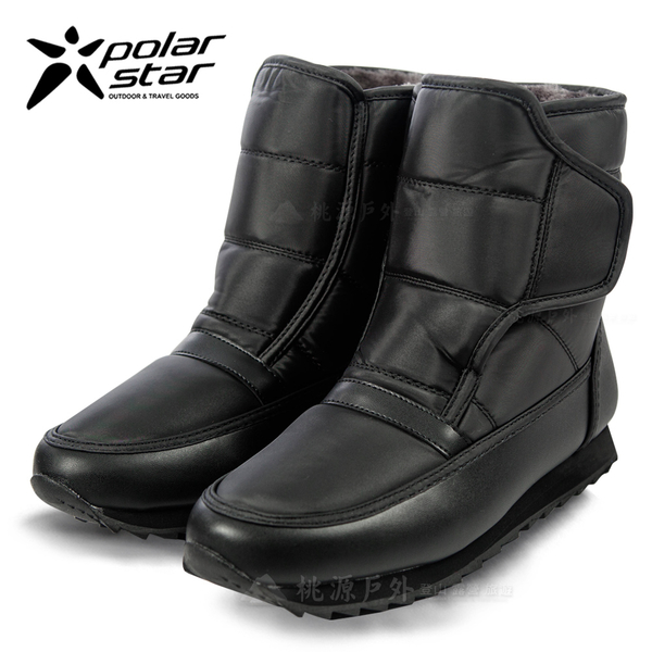 PolarStar 男 防潑水保暖雪鞋│雪靴│冰爪『漆皮黑』 P13619.(內厚鋪毛)防滑鞋底.雪地靴.保暖.抗寒