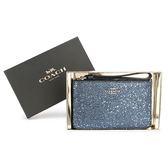 COACH 限定款星星亮片金蔥拉鍊手拿包禮盒(藍色)198303-1