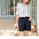 《BA4852-》純色休閒透氣棉麻後鬆緊修身短褲 OB嚴選