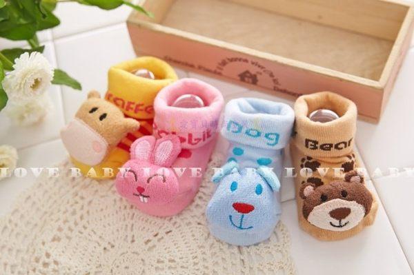 ☆╮寶貝丹童裝╭☆ nikokids 可愛公仔襪 嬰兒襪 粉色兔子/藍色狗狗/黃色長頸鹿/卡其小熊