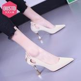 特惠 高跟鞋細跟女新款天天大東秋季尖頭鏤空網紅法式女蝴蝶結單鞋
