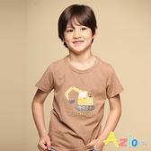 Azio 男童 上衣 挖土機字母印花橫條紋短袖上衣T恤(可可) Azio Kids 美國派 童裝