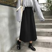 秋冬季新款韓版高腰裙子傘裙學生半身裙復古A字裙黑色長裙女 限時熱賣