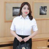 襯衫 白襯衫女短袖大碼胖mm200斤寬鬆職業襯衣正裝工作服加肥加大   琉璃美衣