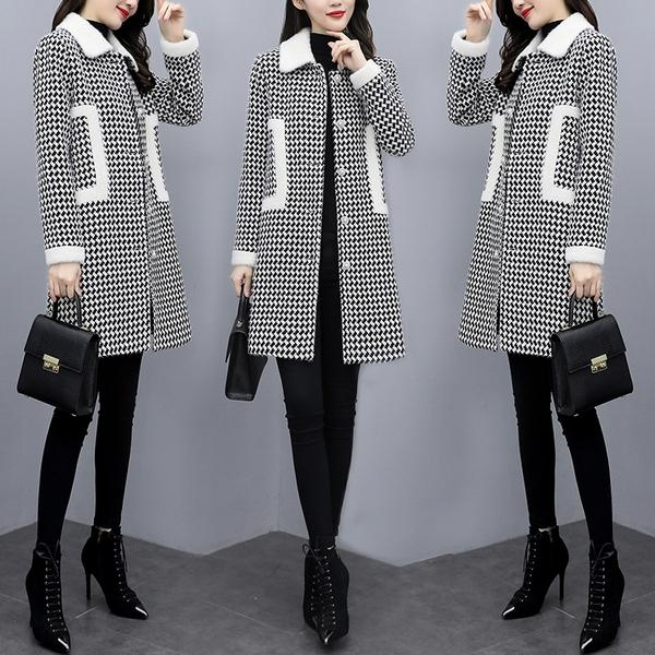 韓版外套M-5XL大碼女裝加棉加厚2020秋冬新款小香風韓版千鳥格仿雪貂絨大衣NC15.965 1號公館
