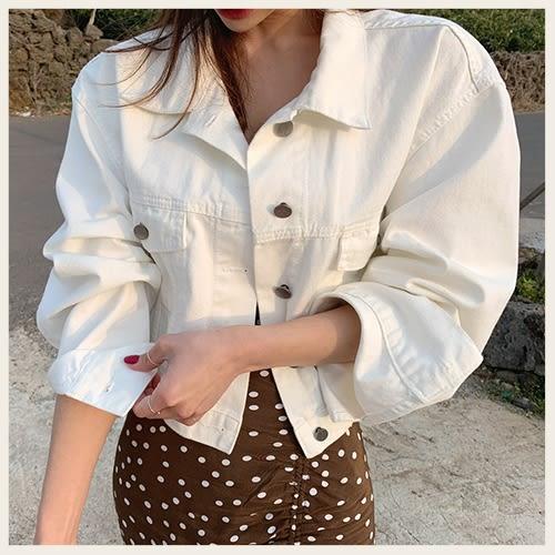 ✦Styleon✦正韓。簡約短版金屬排釦長袖牛仔外套。韓國連線。韓國空運。0306。