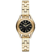 A|X Armani Exchange 經典復古貴氣都市晶鑽腕錶-黑X金