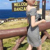 裝韓版復古格子修身一字肩洋裝女短裙