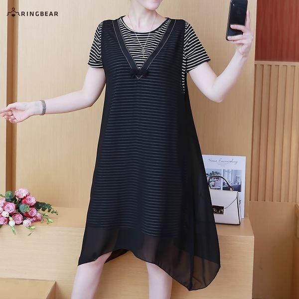 連身裙--浪漫條紋長上衣拼接V型織帶蝴蝶結雪紡罩衫假兩件式洋裝(黑L-3L)-D543眼圈熊中大尺碼◎