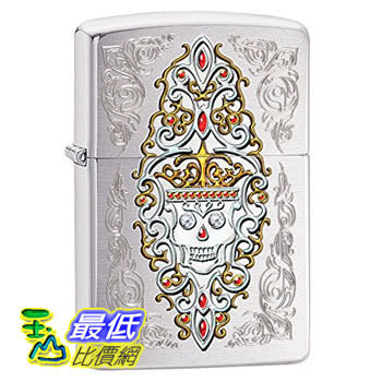 [104 美國直購] Zippo Pocket Lighter Brushed Chrome Jeweled Skull Pocket Lighter 打火機
