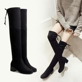 新品粗跟過膝長靴高跟彈力靴 高筒女靴子長筒靴