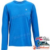 Wildland 荒野 0A71650-77中藍色 男圓領雙色抗UV長袖上衣 機能服/四面彈性/圓領T/吸濕快乾/登山運動*
