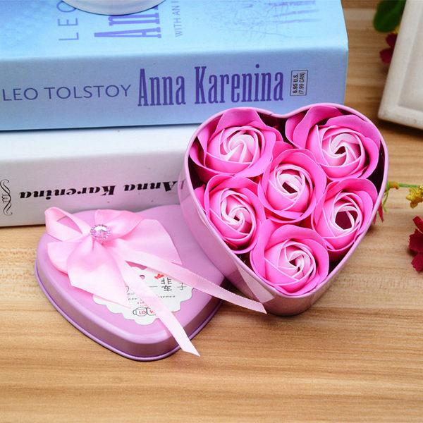 【03831】6朵玫瑰香皂花 心形禮盒 鐵盒 玫瑰花 禮物 情人節 告白