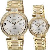 Ogival 愛其華 風華晶鑽對錶/情侶手錶-金/38+30mm 3862DMK+3862DLK