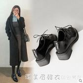 2019新款英倫風單鞋女鞋軟皮牛津鞋黑色小皮鞋女繫帶百搭秋季 漾美眉韓衣