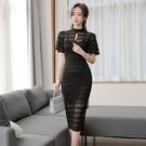 蕾絲洋裝 韓版女神范連身裙女夏季名媛修身中長款鏤空包臀性感禮服裙子