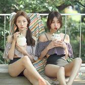 比基尼泳衣 韓國小香風吊帶高腰黑白格子顯瘦遮肚泳衣女溫泉游泳裝分體比基尼 歐萊爾藝術館