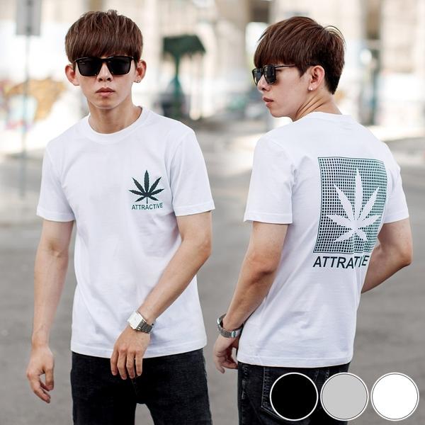 T恤 彩色反光ATTRACTIVE太麻葉圖騰短T【NB1051J】