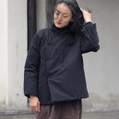 秋冬季中式復古短款棉衣外套麻布女裝大碼寬松加厚夾棉佛系衣服