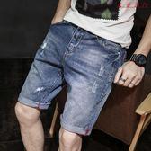 牛仔短褲男五分褲寬鬆破洞休閒薄款
