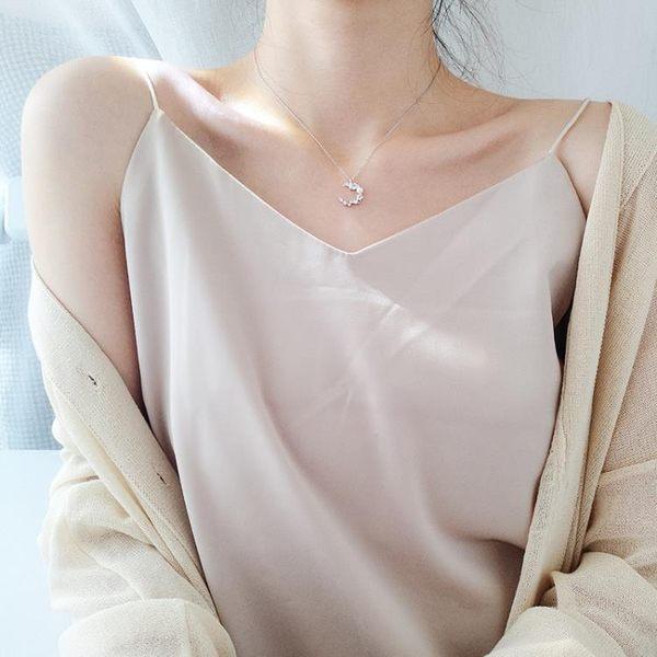 週年慶優惠-星星月亮天然珍珠形項鍊925銀鎖骨女簡約日韓國脖頸飾品韓版