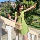 2019新款甜美仙女牛油果綠桔梗裙子森系超仙收腰抹茶綠連身裙夏季