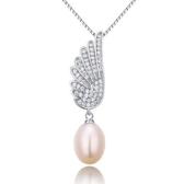 純銀項鍊 珍珠-閃亮鑲鑽生日情人節禮物天使之翼女925純銀墜子73w78[巴黎精品]