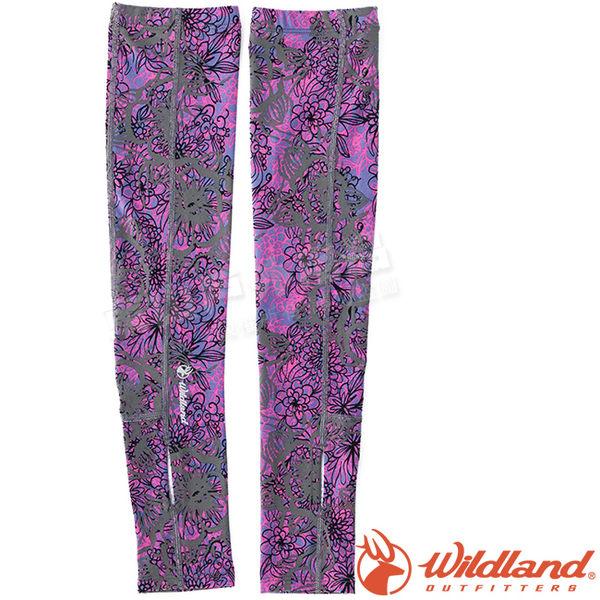Wildland 荒野 W1809-53紫色 中性印花開洞透氣袖套 抗UV遮陽手套/快乾機車手套/單車防曬袖套