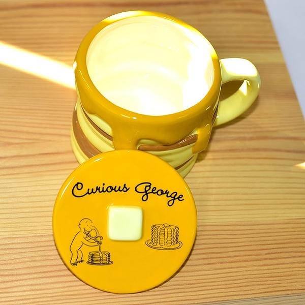 好奇猴喬治 含蓋 磁器馬克杯 正版日本進口 350ml 奶油蜂蜜鬆餅造形 Curious George