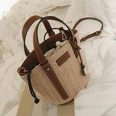 草編包女斜挎編織包水桶包包女新款百搭手提包女包 卡米優品