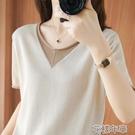真絲上衣100%純棉t恤夏季女裝新款V領寬鬆韓版上衣女士針織短袖打底衫 快速出貨