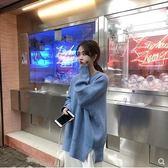 長袖針織上衣秋冬季韓版慵懶風套頭毛衣女寬鬆圓領長袖上衣糖果色厚針織衫外套 衣間迷你屋