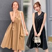 漂亮小媽咪 韓系無袖洋裝 【D6404】 純色 V領 傘狀 無袖洋裝 孕婦 洋裝 孕婦洋裝 孕婦裝